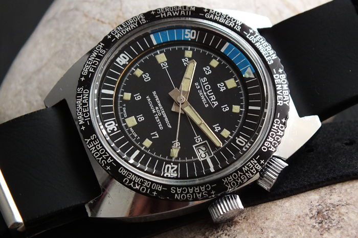"Sicura - ""World Time"" 400 Diver - 2 Rotating Bezel - *Mint* - Men - 1970-1979"