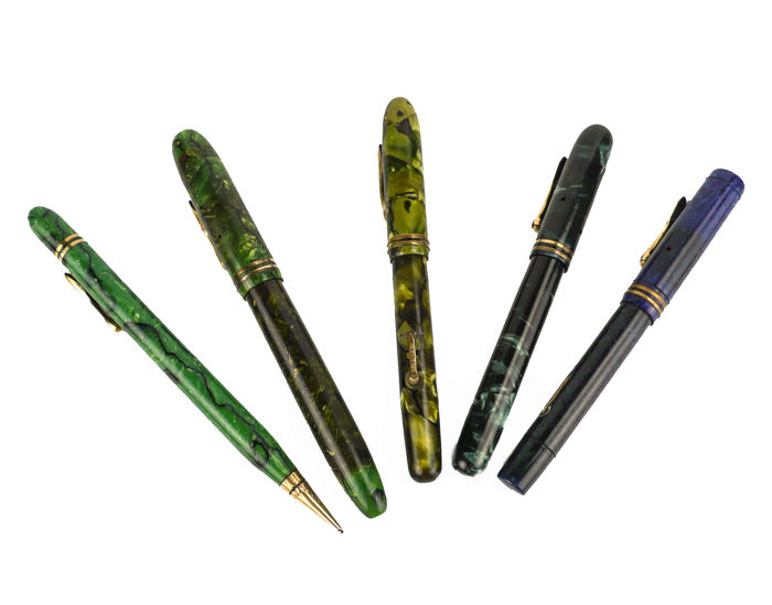 Conklin Toledo, Ohio USA - 4 Collection fountain pens and 1 propelling pencil - Celluloid - c. 1925-1930