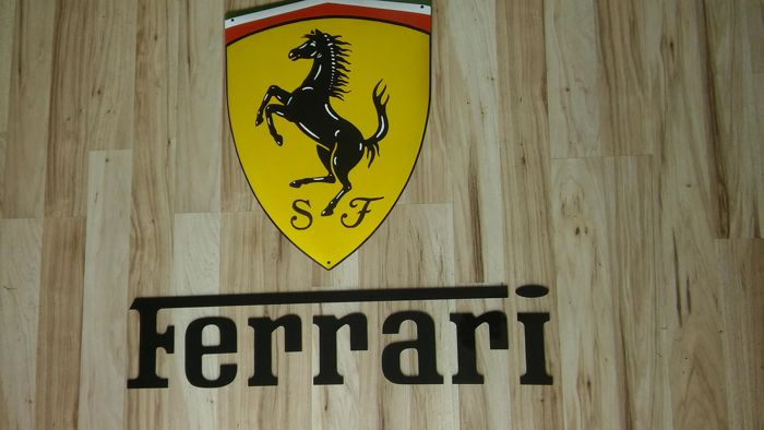 Decorative - ART composition - FERRARI - porcelain enamel 60 / 44cm + inscription FERRARI - plexi 80 / 18cm.