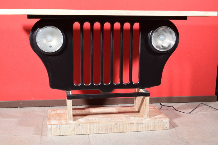 Mancave Jeep grille furniture piece with headlights that work and a wooden table top - 138 cm x 38 cm x 80 cm