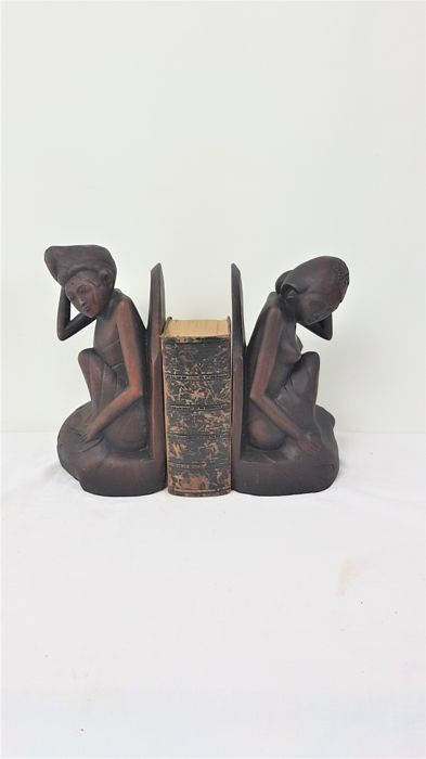 2 wooden bookends in Art Deco style - Bali, Indonesia - 2nd half 20th century