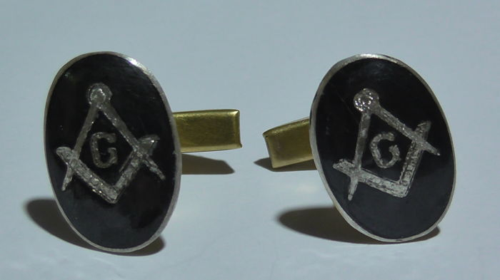 "Silver vintage cufflinks with Masonic symbols. Brand: ""Siam Sterling""."
