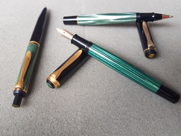 Pelikan triple set set - fountain pen (14k solid gold nib), rollerball, and ballpoint