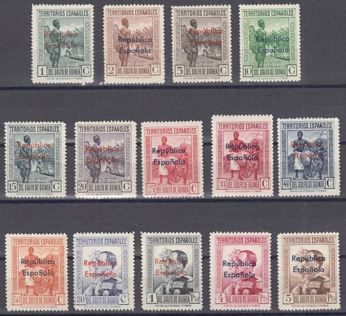 Guinea 1932 - Spanish colony. Overloaded stamps Republic - Edifil 230/243