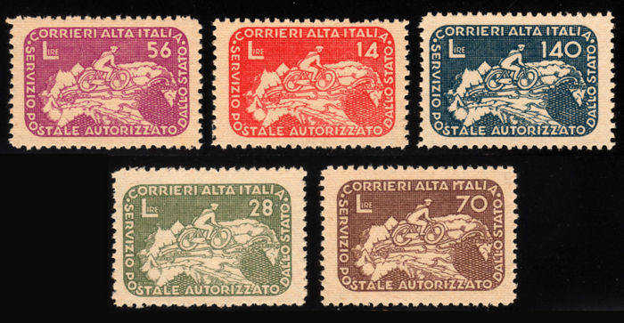 Italia Luogotenenza 1945 - CORALIT Cyclist on Geographical Map - Sassone NN. 8/12