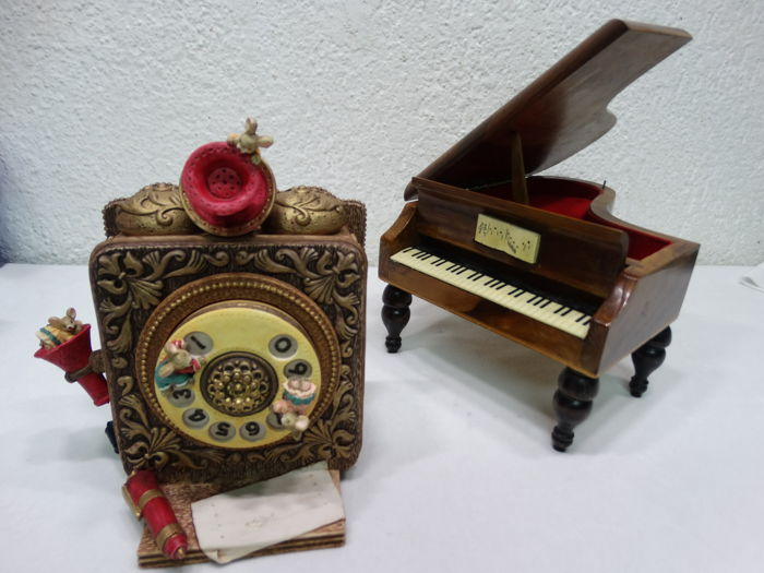 2 music boxes - miniature wooden wing and old phone