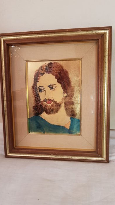 Interesting gold leaf painting depicting the face of Jesus - dimensions 41 x 35 cm - signed and with certificate of guarantee on the back