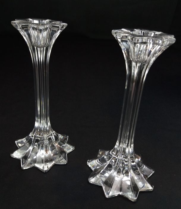 Riedel Austria - Splendid pair of candlesticks in brilliant cut crystal (branded)