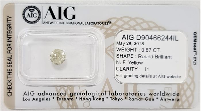 0.87 ct - Natural Fancy Diamond - Yellow Color - I1 - G/VG/G - No Reserve!