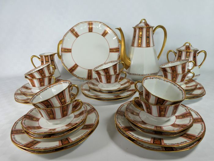 Limoges H. A Balleroy Frères, B & Cie - Art Deco coffee and dessert crockery 10 persons.