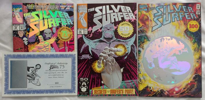 The Silver Surfer #75 Ron Lim Signed Numbered Limited Comic COA + # 50 Foil Embossed Cover + # 100 Cover with hologram, Giant Sized