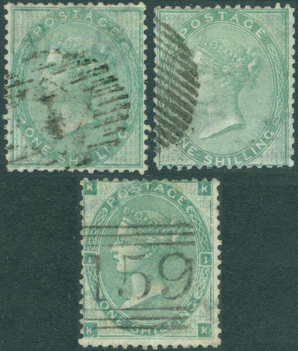 Great Britain 1855/1857 - QV,  1s. Wmk Emblems, 3 different stamps - Stanley Gibbons