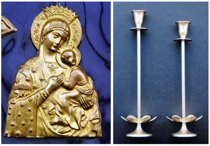An antique brass on glass icon and a pair of tall candlesticks, Greece, ca. 1950s