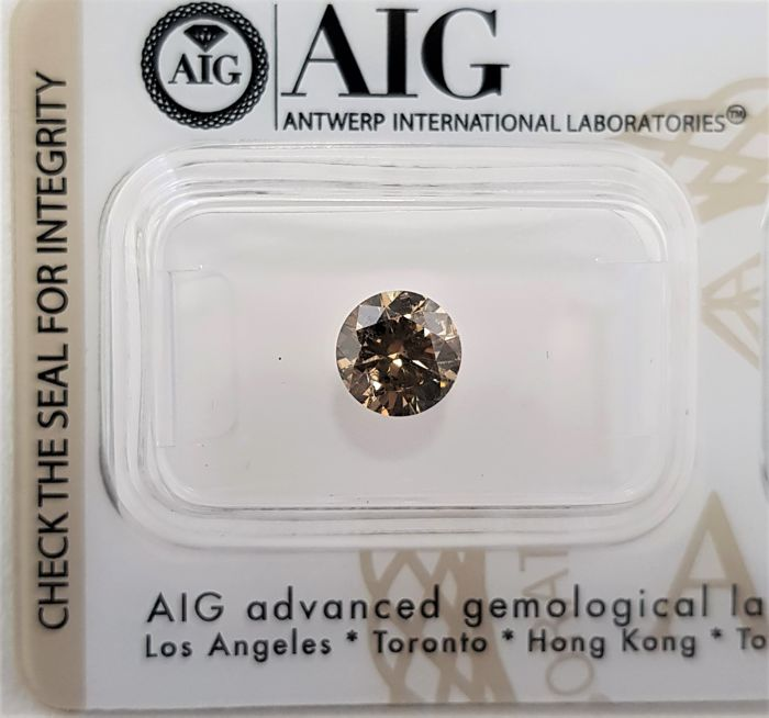 1.02 ct - Natural Fancy Diamond - Intense Brown Color - SI2 - EX/EX/EX - No Reserve!