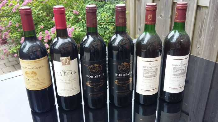 1998 Bordeaux Grand Veneur x 2 bottles - 2002 Chateau La Roca x 2 bottle Chai de Bordes Quancard x 1 bottle -1998 Chateau Pontet-Chappaz x 1 bottleMargaux  - 6 bottles