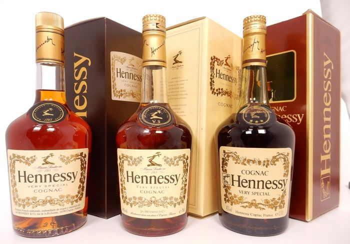 3 different editions of the Hennessy VS cognac as new condition