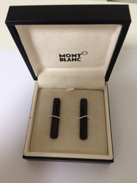 montblanc cufflinks black rods with montblanc logo on both sides in original box see photos