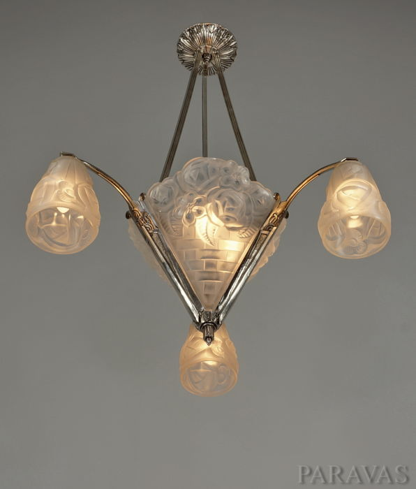 Degu art deco chandelier nickeled bronze and moulded glass degu art deco chandelier nickeled bronze and moulded glass aloadofball Choice Image