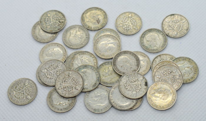United Kingdom - 3 Pence 1930/1940 George V and VI (30 pieces)  - Silver