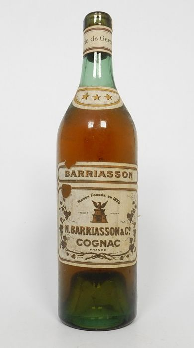 Old bottle of Barriasson three star cognac, 1930s - 1940s