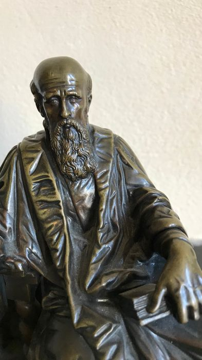 Bronze sculpture of a 19th century scholar - France - circa 1900
