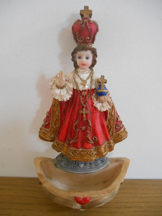Beautifully detailed holy water font of 'Infant Jesus of Prague'