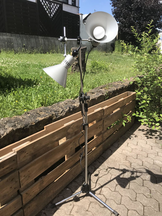 Unknown designer - floor lamp with two lights on tripod