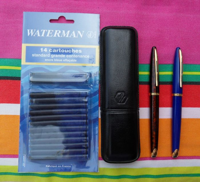 Waterman Carene Fountain Pens Blue + Mottled Brown + Leather Pouch