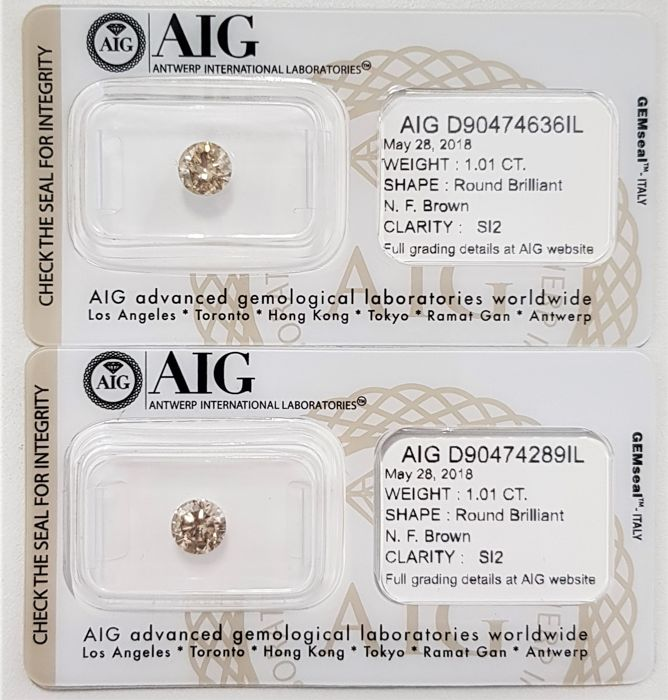 2.02 tcw - Pair of Natural Fancy Diamonds - Brown Color - SI2 - No Reserve!