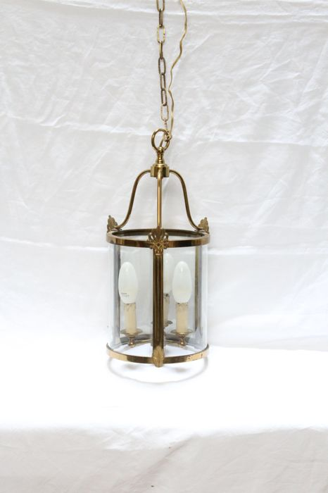 Vintage ceiling brass candle, cylandrical form, France, 1st half 20th century