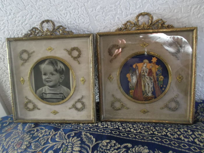 Set of bronze or brass Louis XVI-style photo frames - late 19th century