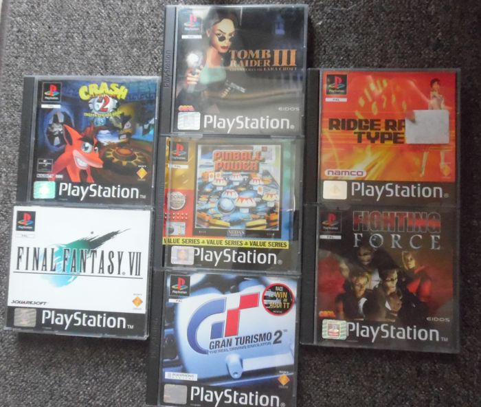 7 PS1 great games - boxed  with manual like Final Fantasy VII, Crash 2, Tomb Raider III, Pinball Power, Gran Turismo 2 and more