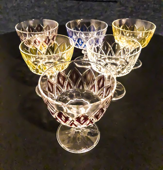 Val St Lambert - service of 6 coloured glasses