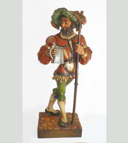 A large statue of male figure in Renaissance style, holding a beer tankard - polychrome painted gypsum plaster - probably Holland or Belgium - first half of 20th century
