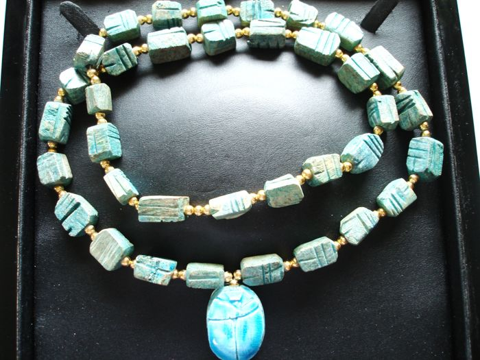 Antique - Rare Massive Egyptian revival Turquoise lime stone and 18K YGP beaded Necklace with large Scarab Pendant