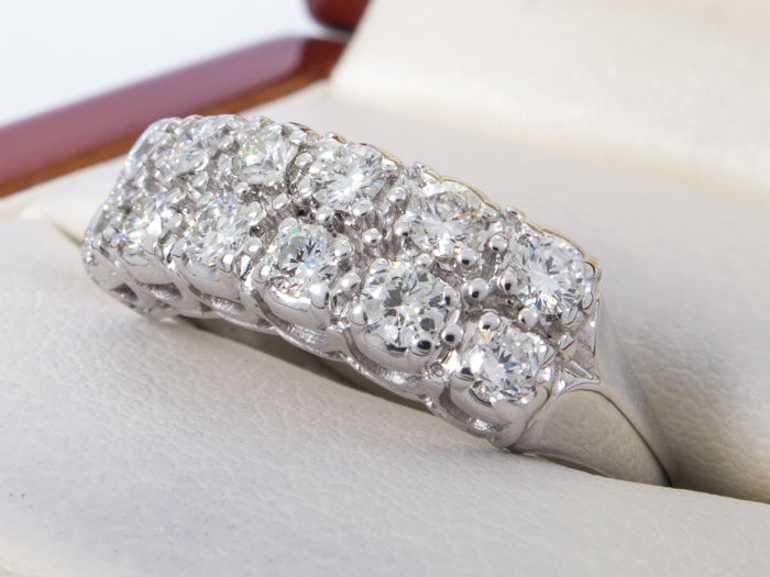 0.96Ct - double diamond row ring with large diamonds - **No Reserve price**