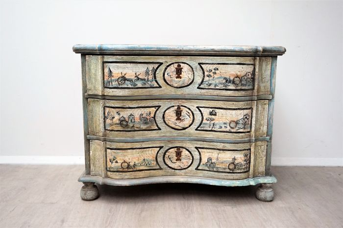 Rococo Bed Kopen : Painted pine chest of drawers with 3 drawers in rococo style north