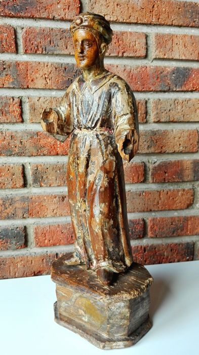 Pageboy sculpture in carved wood - Italian school - 18th century