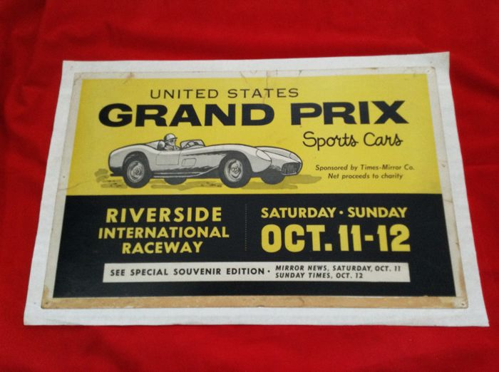event Poster - extremely rare Riverside USA GP Sportscars - 1958 (1 items)