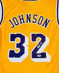 Magic Johnson #32 / LA Lakers - Authentic & Original Signed Home Jersey - with Certificate of Authenticity PSA Witnesse