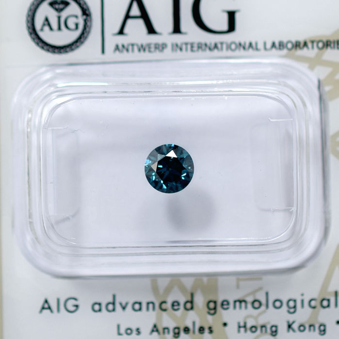 Greenish Blue Diamond (treated) - 0.56 ct, VG/VG/VG