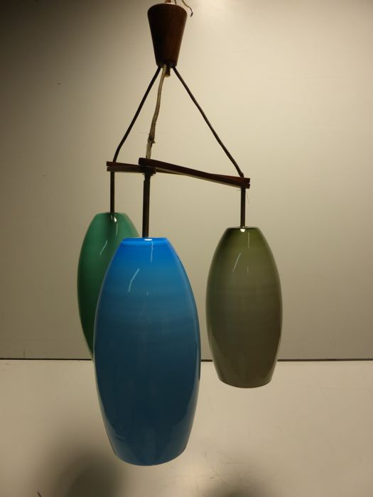 Unknown designer - Hanging lamp with 3 glass shades.