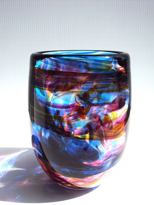 Maxence Parot - Large unique blue vase colour ribbons