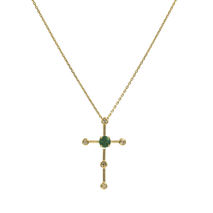 18 kt yellow gold - Necklace with cross-shaped pendant - Brilliant-cut diamond 0.10 ct - Round-cut emerald 0.30 ct