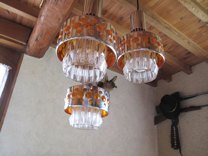Ceiling lamps from the 60s-70s, three suspensions in glass of orange colour - Space age