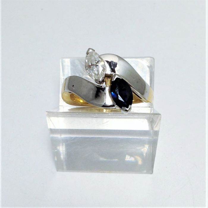 18 kt white and yellow gold ring - diamond - sapphire - new - 100% handmade in Italy