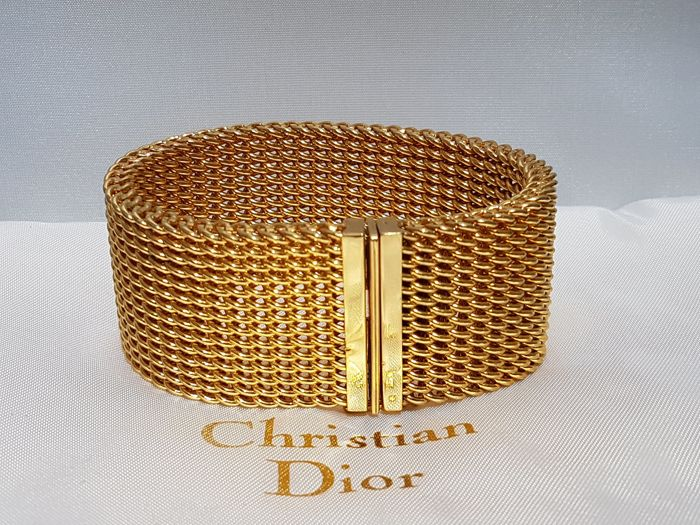 Christian Dior - Haute couture heavy gold plated mesh bracelet 1975 - Vintage
