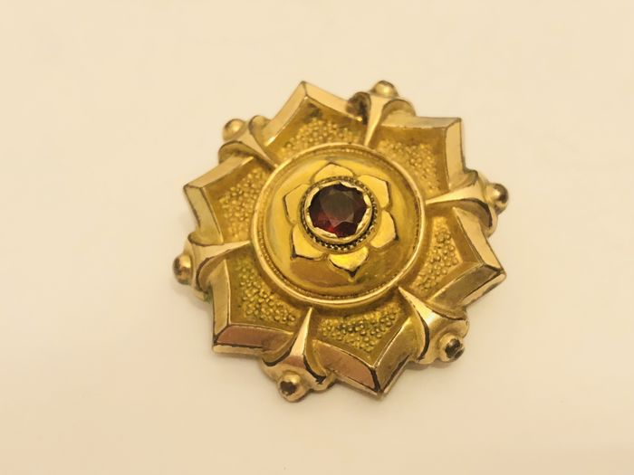 Antique 18K Gold Plated Ruby - Brooch - Pendant - Germany approx. 1890