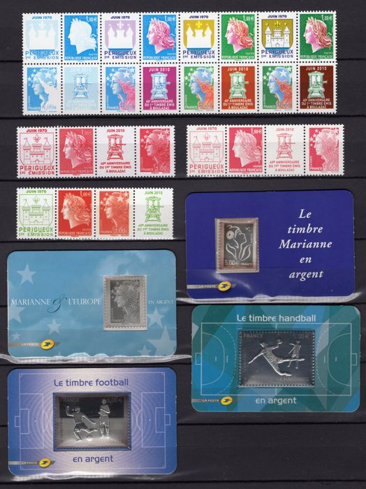 France 2009/2012 - Lot of Boulazac stamps, silver stamps, platelets