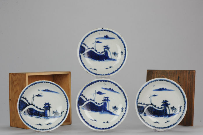 4 Porcelain Ming Transitional Plate - Tianqi / Chongzhen  -  China - ca 1621 - 1645
